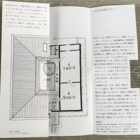 伊丹十三記念館の間取り図にもなっているパンフレット。